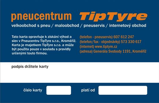 Zákaznická karta Pneucentrum TipTyre Kroměříž